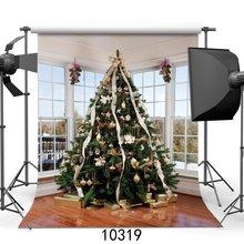 Photography Backdrop Christmas Decoration Tree Gifts French Sash Wood Interior Xmas Backdrops
