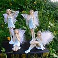 Resin Flower Fairy Anime Figurines Angel Wing Kawaii Toys Ornaments Miniature Decoration Kids