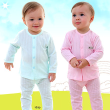 Купить с кэшбэком New baby cotton long-sleeved suit baby air conditioning suit baby thin section cute print pajamas spring and autumn baby clothes