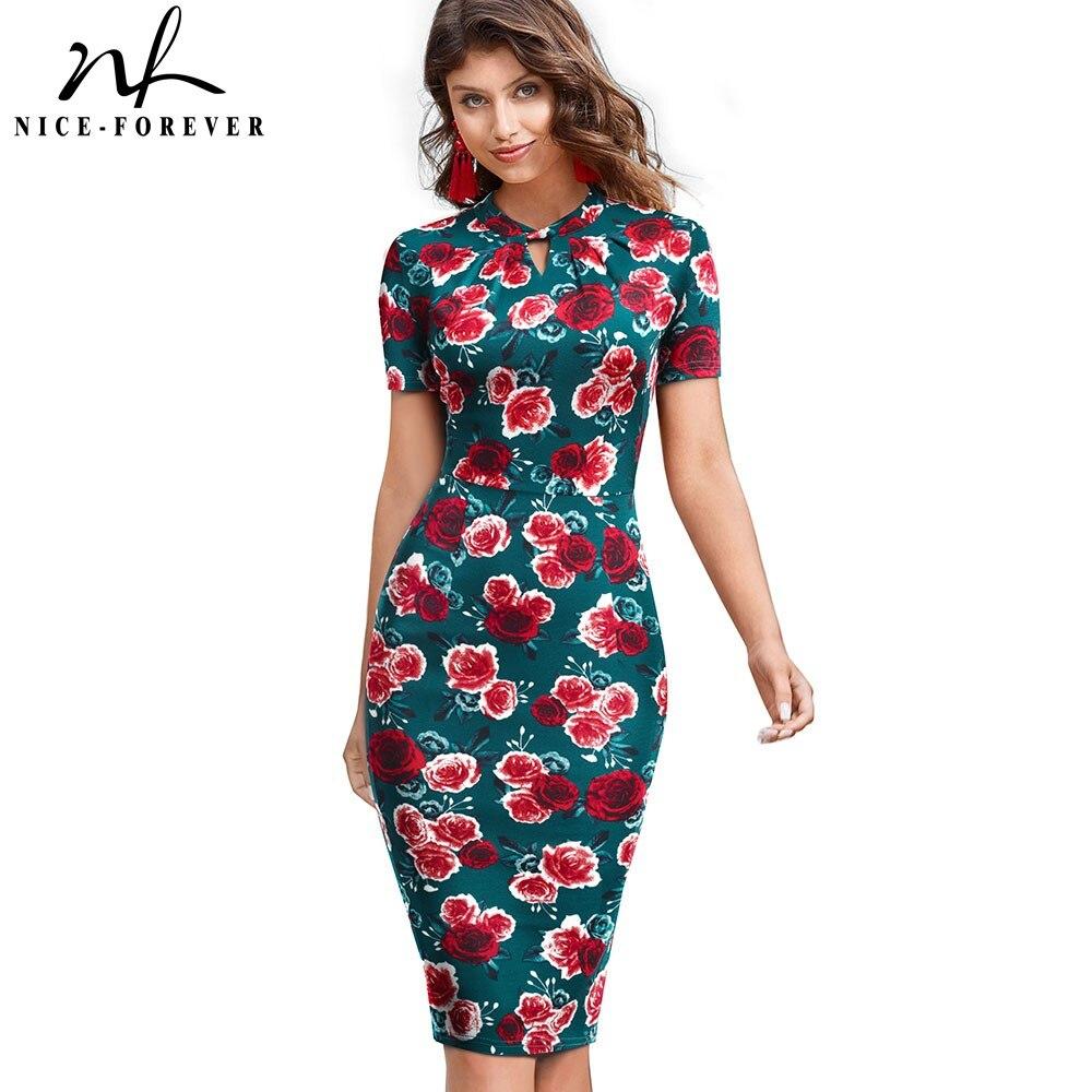 Nice-Forever Elegant Vintage Floral Printed Vestidos Business Party Bodycon Pencil Women Summer Dress B534