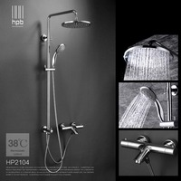HPB Brass Thermostatic Bathroom Shower Set Exposed Bath Tub Faucet Mixer Tap With Slide Bar 1
