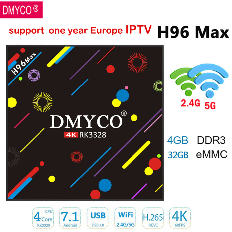 DMYCO Android 7.1 H96MAX H2 Smart TV Box 4 gb RAM 32 gb ROM RK3328 Quad Core 4 k USB3.0 WIFI Bluetooth 4.0 Médias Lecteur Set top box
