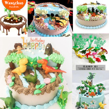 16pcs Dinosaur Cake Topper Theme Party Supplies Happy Birthday Decoration Child Cartoon Accessories