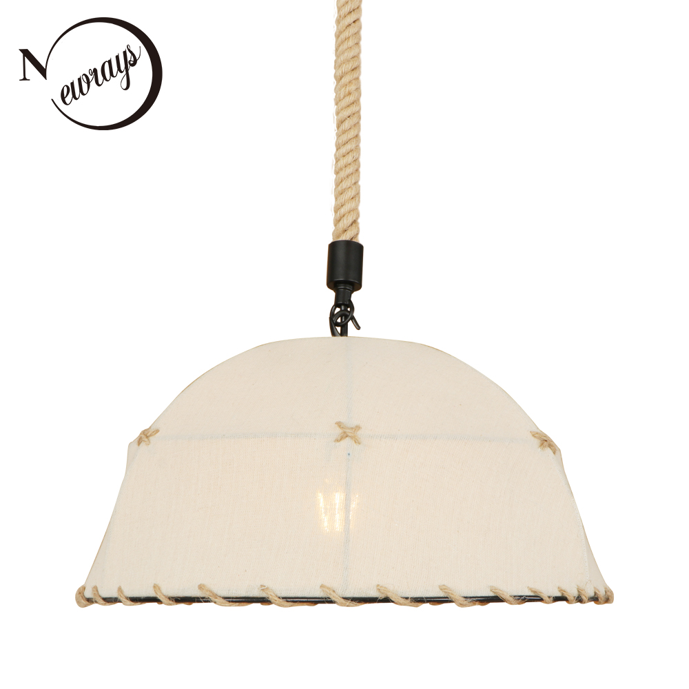 Home deco countryside fabric white pendant light LED E27 simple hanging lamp for lounge shop cafe living room bedroom restaurant