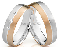 luxury tailor made bicolor two tone titanium jewelry wedding band engagement promise rings sets for lovers
