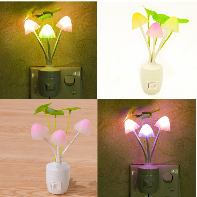 Light-controlled Fantasy Mushroom Led Bedroom Creative Night Light EU US Plug ...