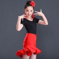 Purelover Latin Dance Costmes Set Top Fischtail Skirt Girls Kids Ballroom Samba Modern Dance Club Dancing