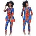 Mulheres treino definir 2016 dashiki Africano terno popular lazer duas peças Bandagem apertada Clube conjunto femme para mulheres treino
