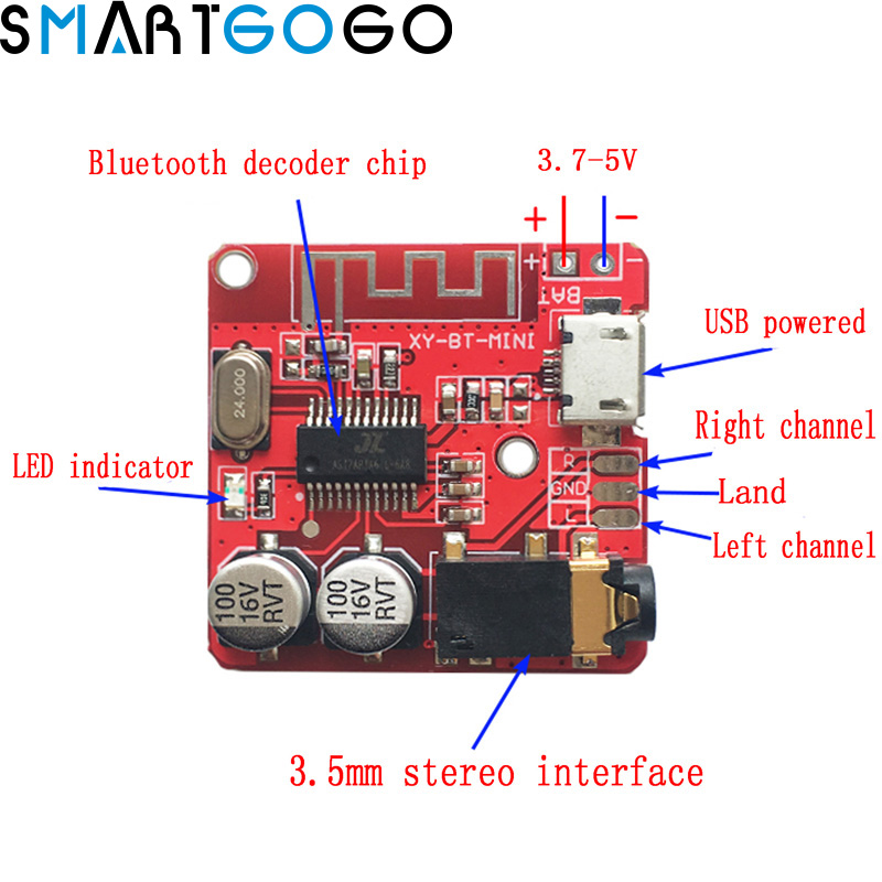 3.7-5V Wireless Bluetooth MP3 Decoder Board BLE 4.1 Circuit Board Module Lossless Decoding Module Micro USB TF Card Interface