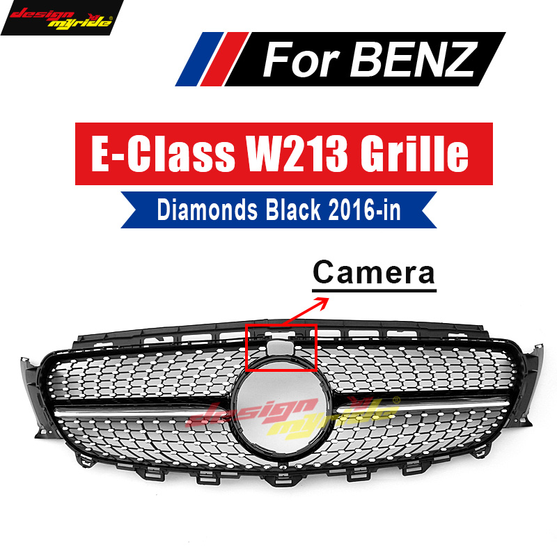 יהלומי גריל גריל W213 E63 מראה שחור עם מצלמה עבור מרצדס E class E200 E250 E300 E350 E400 קדמי גריל ללא סימן 16 +