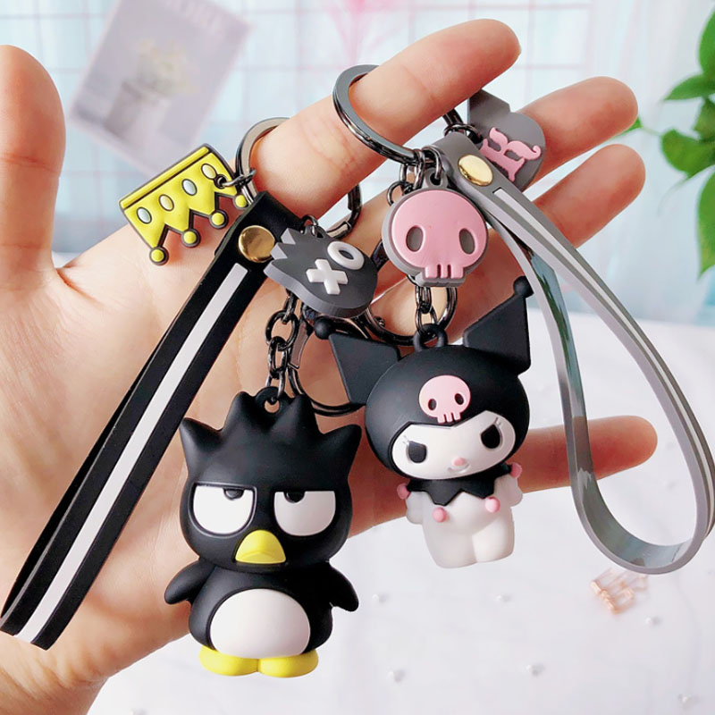 Creative Sanrio Series My Melody Pudding Cinnamoroll Dog Keychain Bag Pendant Keyring for Girls Figure Toys