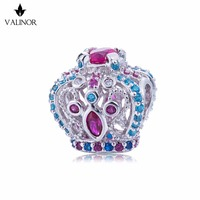 Video! Colorful flashing crown 925 Sterling Silver beads charms fit Bracelets Never change color DDBJ001