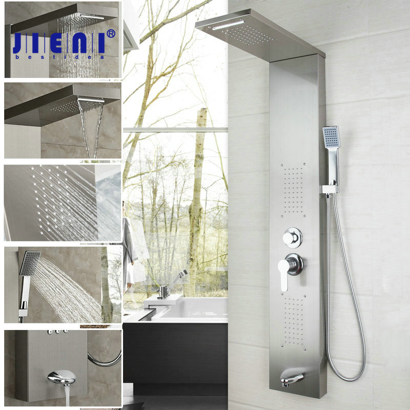 High-grade Bathroom Stainless Steel Shower Column Wall Mounted One Handle +Hand shower+Tub Spout+Massage System Shower Panel