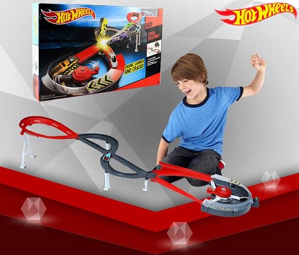 Roues chaudes rond-point piste jouets modèle voitures classique jouet voiture cadeau d'anniversaire pour enfants Pista Hotwheels Juguetes W5093