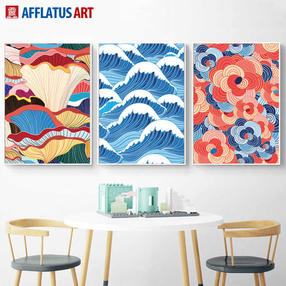 Abstract Art Colorful Sea Wave Landscape Wall Art Canvas Painting Nordic Posters And Prints Wall Pictures For Living Room Decor