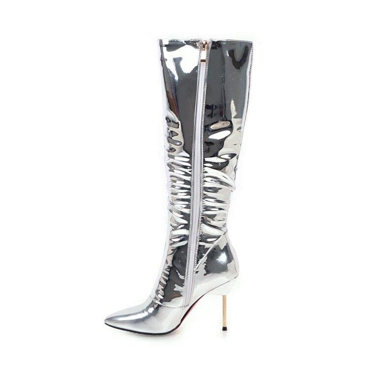 Plus 3 Mince Femmes Haute Style Initiale 5 10 L'intention Nous Bottes Genou Talons Pointu Nouveau Bout Taille Chaussures Argent Ef0416 Femme Hauts wzxZUUnfq
