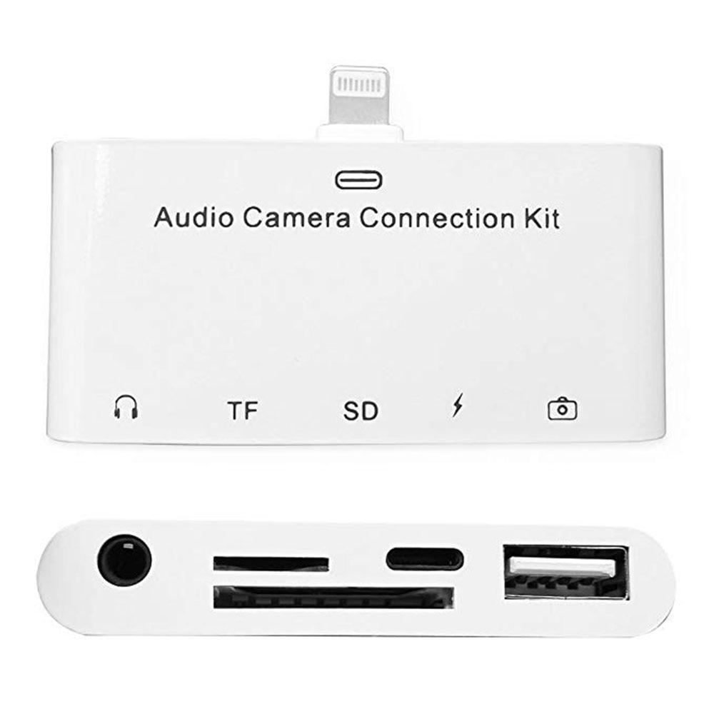 5 dans 1 Foudre MiNi Audio Caméra Kit de Connexion Avec TF SD Lecteur de Carte, 3.5mm Audio Jack Adapterk Pour iPhone et iPad Série