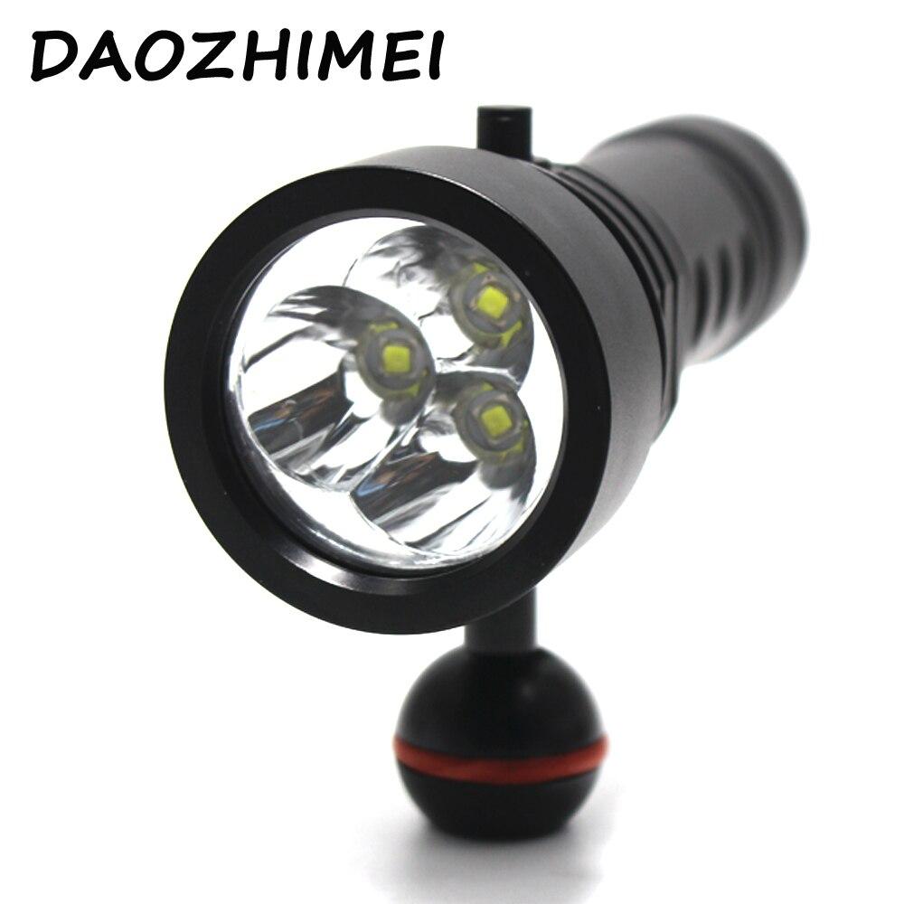 9000 lumen Underwater Video Diving Flashlight 3 XML L2 White Light Dive Torch Video Dive Flashlight Lamp