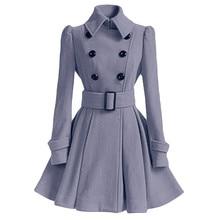 Женское зимнее теплое шерстяное пальто Тренч пальто с поясом Женская Повседневная Верхняя одежда OCT12