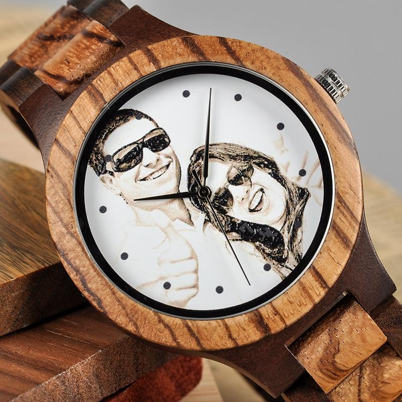 BOBO BIRD Personal Photo Print Customized Wood Watch with Gift Box 16