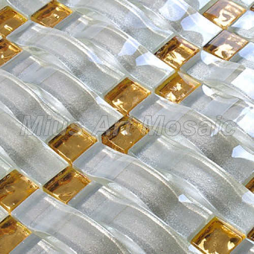 Gold and white color mix woven crystal glass mosaic tilies shower room MH010 мозаика elada mosaic n56 бургундский long size crystal