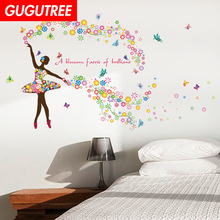 Decorate angel flower buttlefly art wall sticker decoration Decals mural painting Removable Decor Wallpaper LF-1756