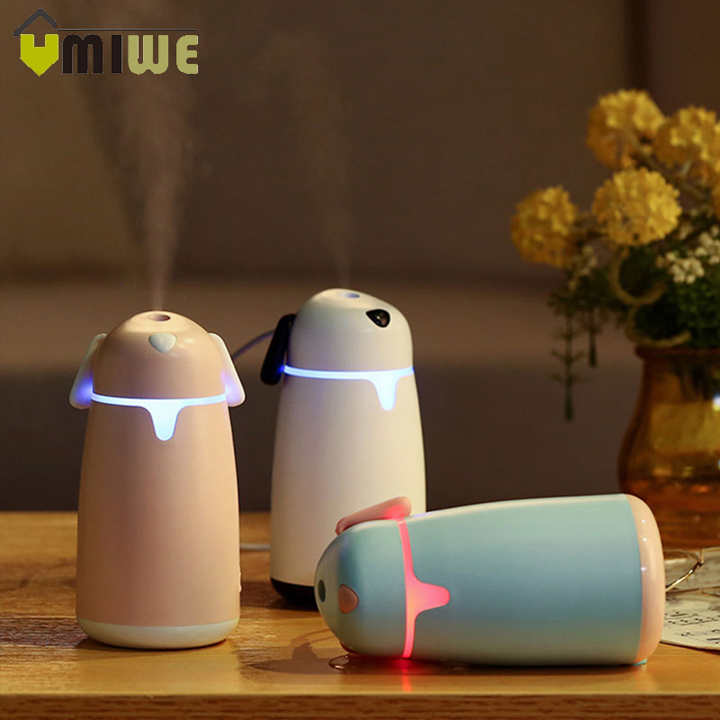 Portable Mini Cute Puppy Air Humidifier USB Essential Oil Diffuser Mist Maker Humidifier with 7 Color Night Light for Home Car night light humidifier mini small portable air hydration cute mini silent fog intelligent shutdown anti dry
