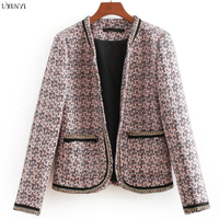 LXUNYI Office Lady Plaid Tweed Blazer Women Fashion Autumn Winter Long Sleeve Print Suit 2019 Short Women Vintage Blazer Feminin