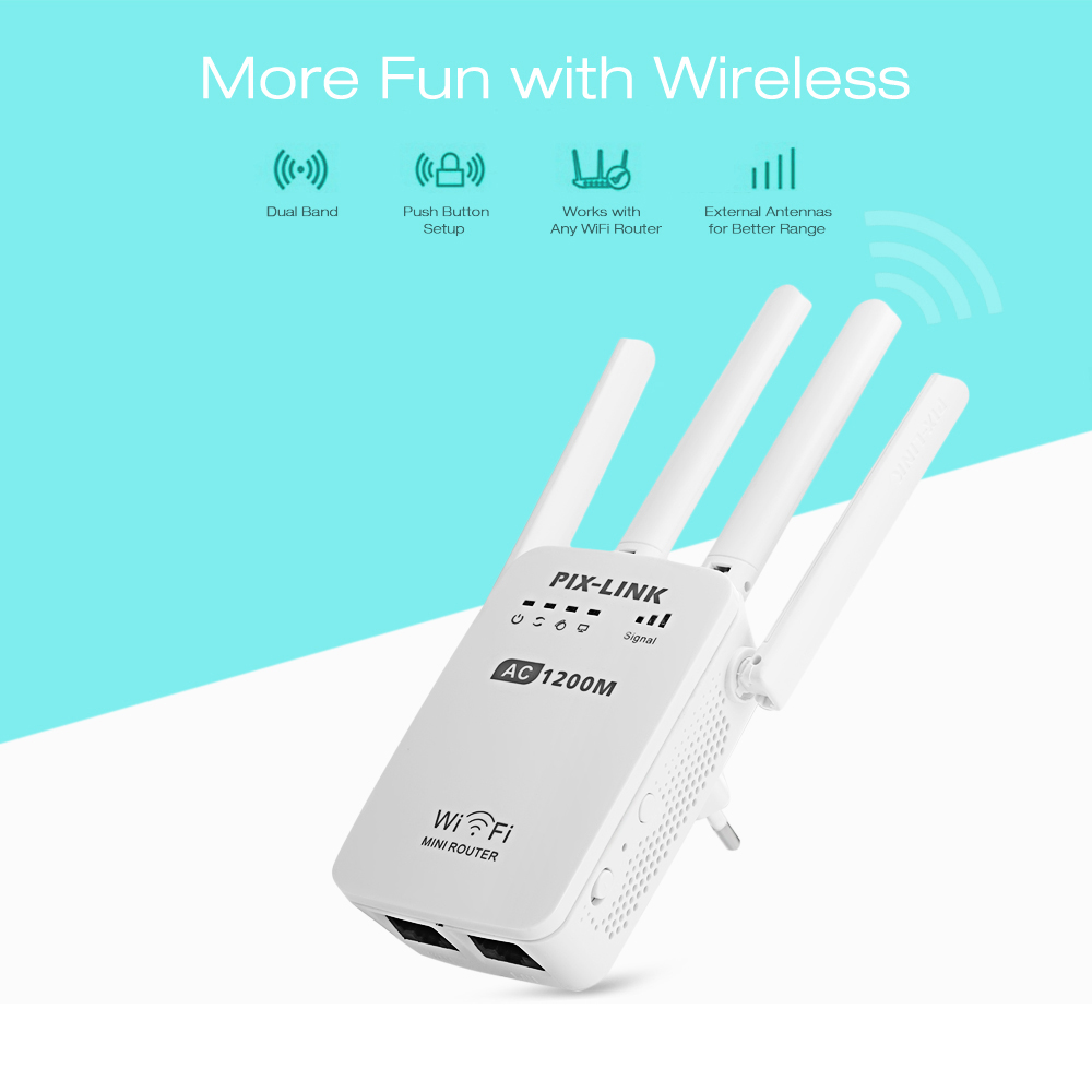 PIXLINK AC1200 WIFI Repeater/Router/Access point AP Wireless Range Extender wifi signal amplifier with External Antennas dodocool n300 mini wifi repeater router access point wifi range extender with 2 external antennas wps protection eu us plug