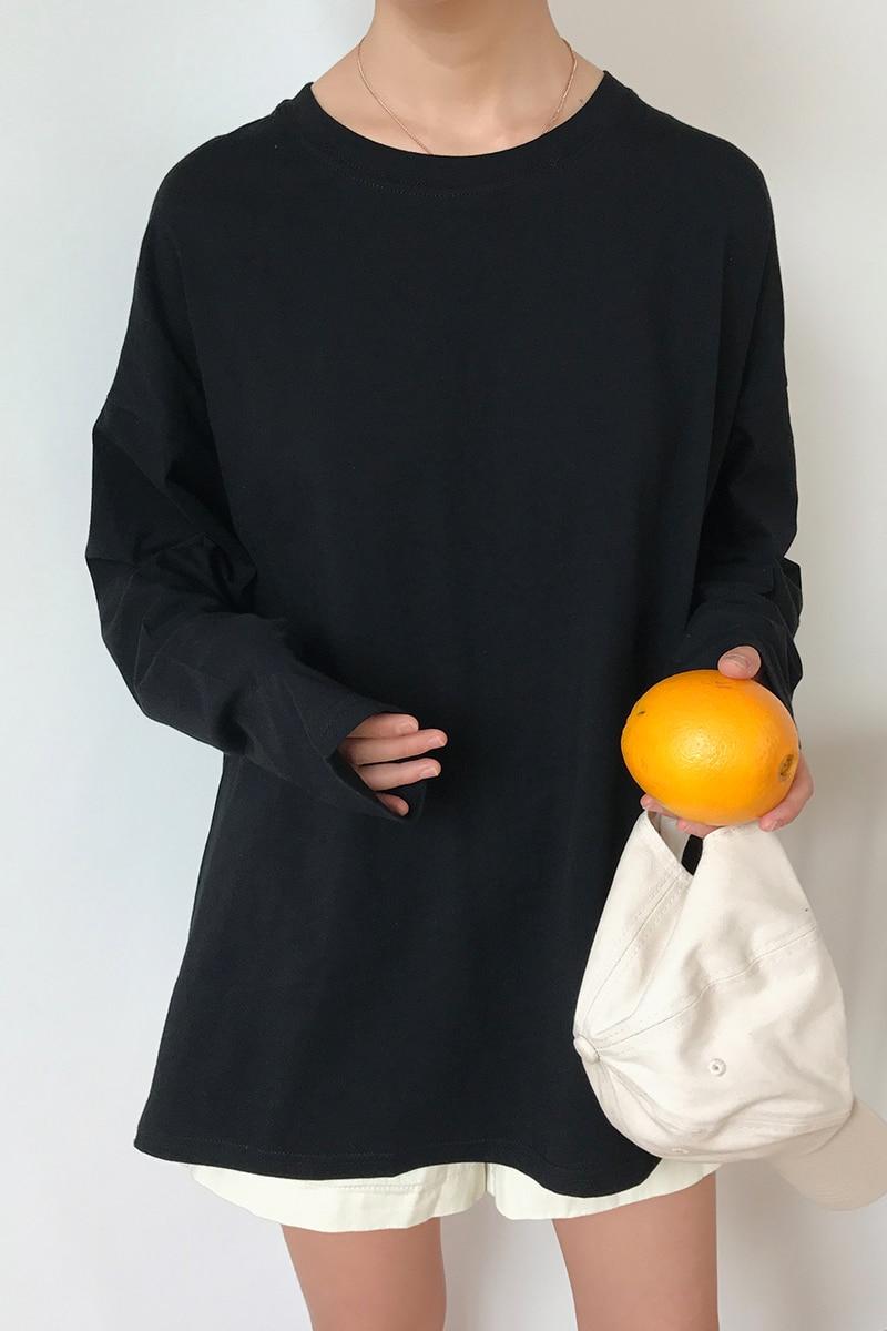 Mooirue 2018 Spring Autumn Harajuku Casual T Shirt Thin Round Neck Long Sleeve Cotton Basics Tee Female Yellow Black Pullovers
