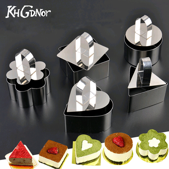 5 Formen Set Kuchenform Edelstahl Mousse Ring Form Herz Kuchen