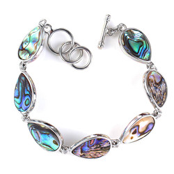 Trendy-beads Silver Plated Natural Abalone Shell Water Drop Bracelet For Anniversary Statement Jewelry