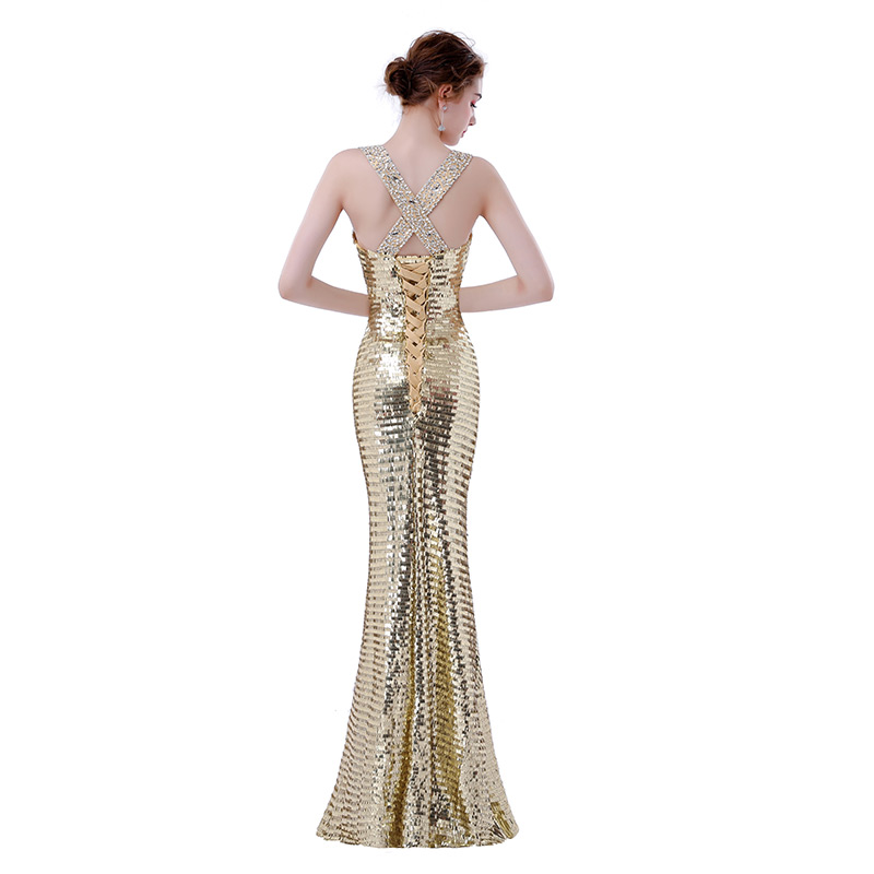 FADISTEE new design elegant evening dresses sequins formal party dress  vestidos de festa lace up bling mermaid long gown -in Evening Dresses from  Weddings ... 955915bc4070