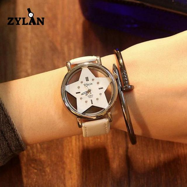 ZYLAN Brand Star Hollow Exquisite Women Quartz Watches Ultra Thin Crystal Ladies