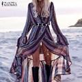 Zanzea mujeres dress 2017 bohemia de la manera atractiva v neck beach largo maxi vestidos de las señoras de la mariposa de la manga ruffles dividir vestidos