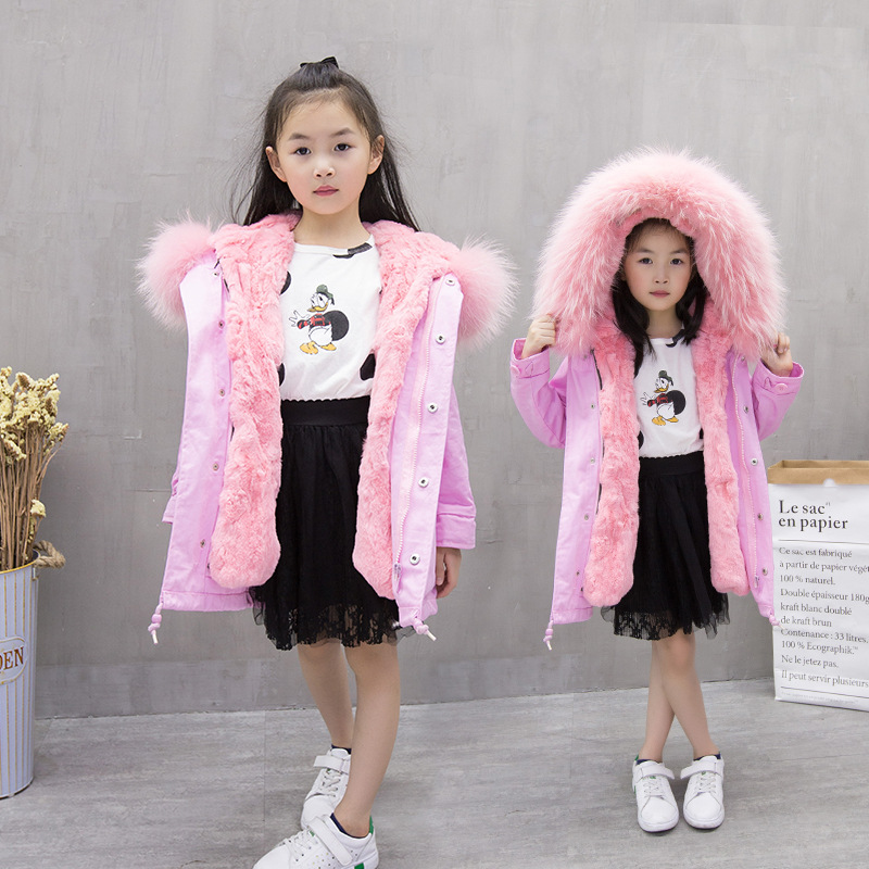 2017 Winter kid super large raccoon fur collar jacket girls pink hooded cotton jacket high quality kids thick warm coat 17N1120 winter fashion kids girls raccoon fur coat baby fur coats