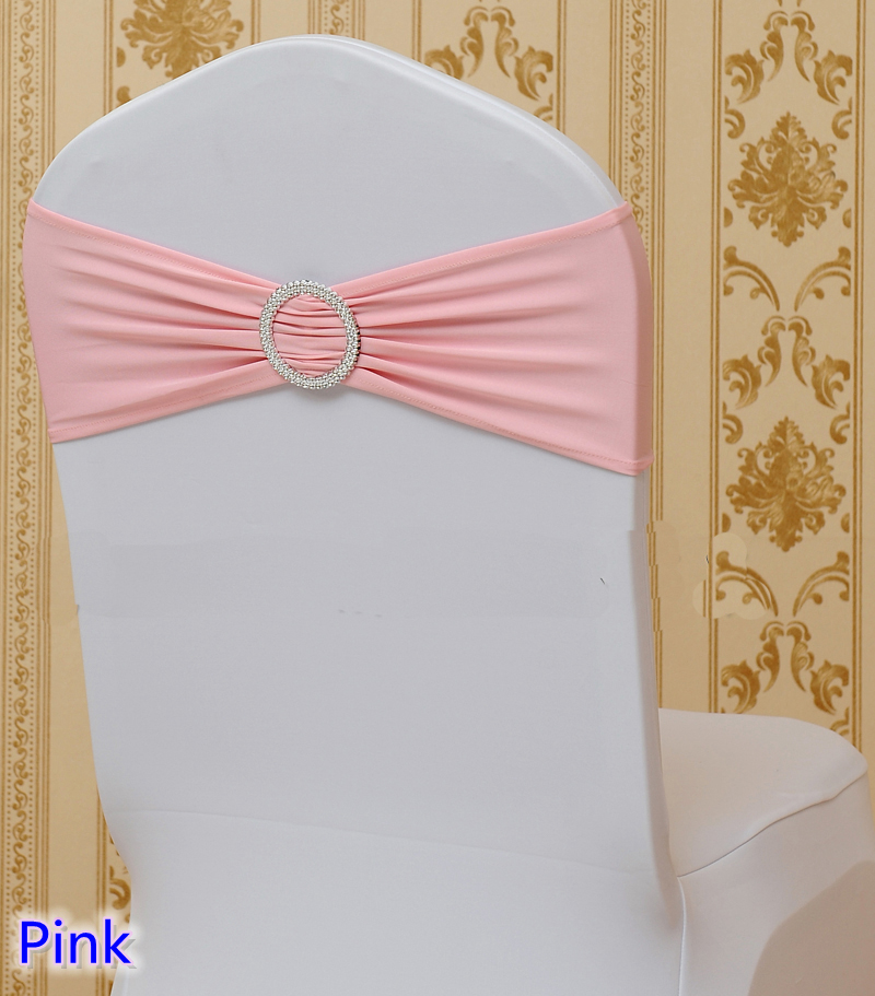 Pink colour on sale chairs sash with Round buckles for chair covers spandex band lycra sash bow tie wedding decoration