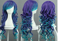 ~Vocaloid.Luka,1738.Lux long purple blue double color wave cosplay Wig,free shipping