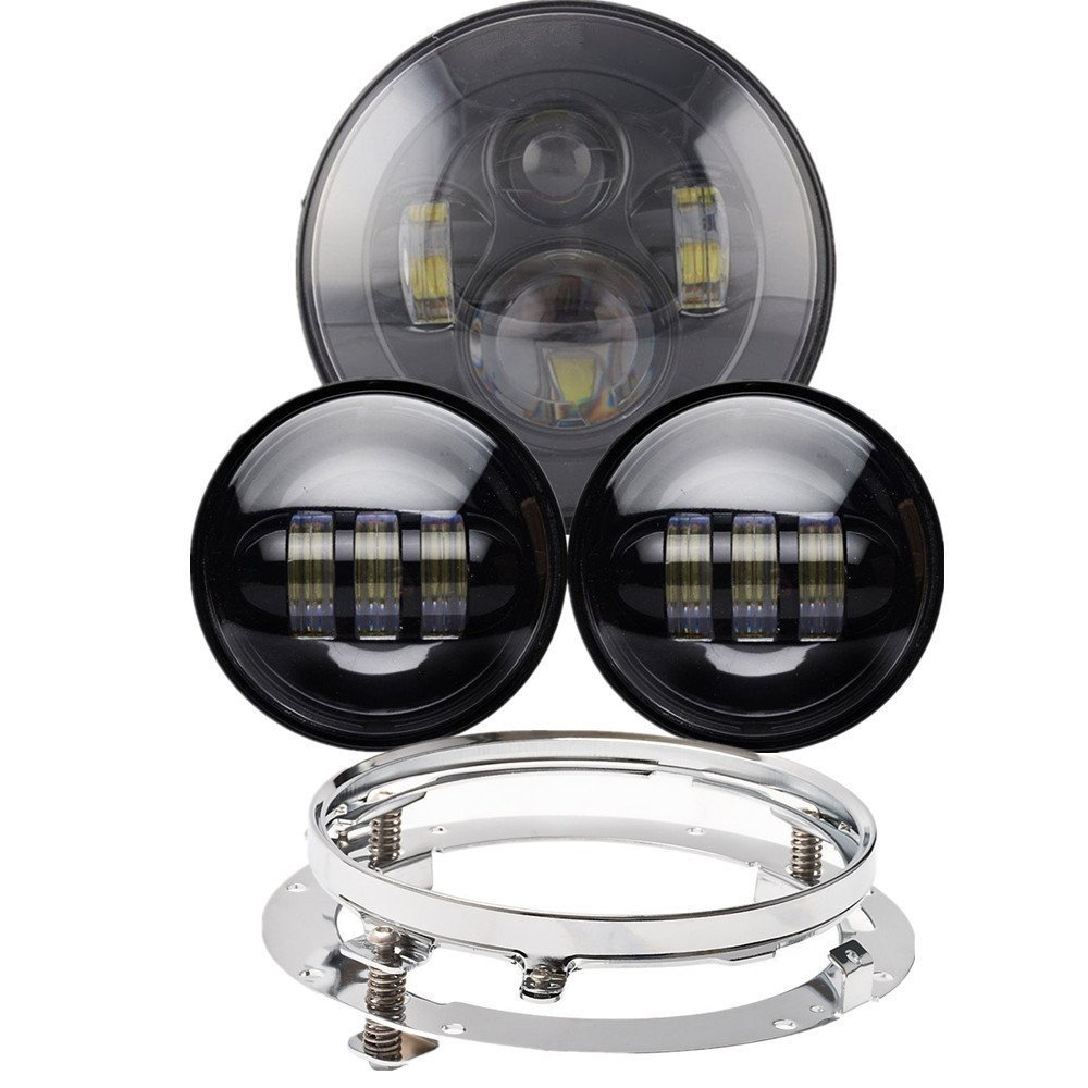 Harley Daymaker Motos 7 LED Headlight with 4.5  inch Led Fog Light for Harley Davidson Motorcycle with 7 Bracket Adapter Ring black 7 inch motorcycle daymaker replacement led headlight 2 x 4 5 fog lights for harley davidson road king with 7 bracket