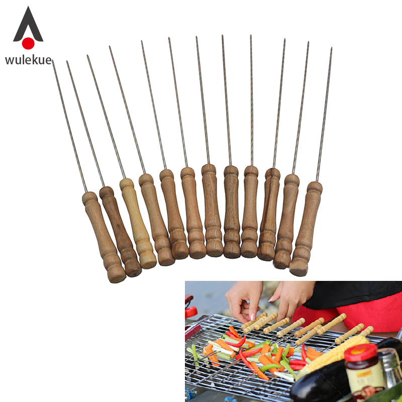 Wulekue 12 PCS Wood Stainless Steel Needle Barbecue Skewers BBQ Cooking Tools For Picnic Camping