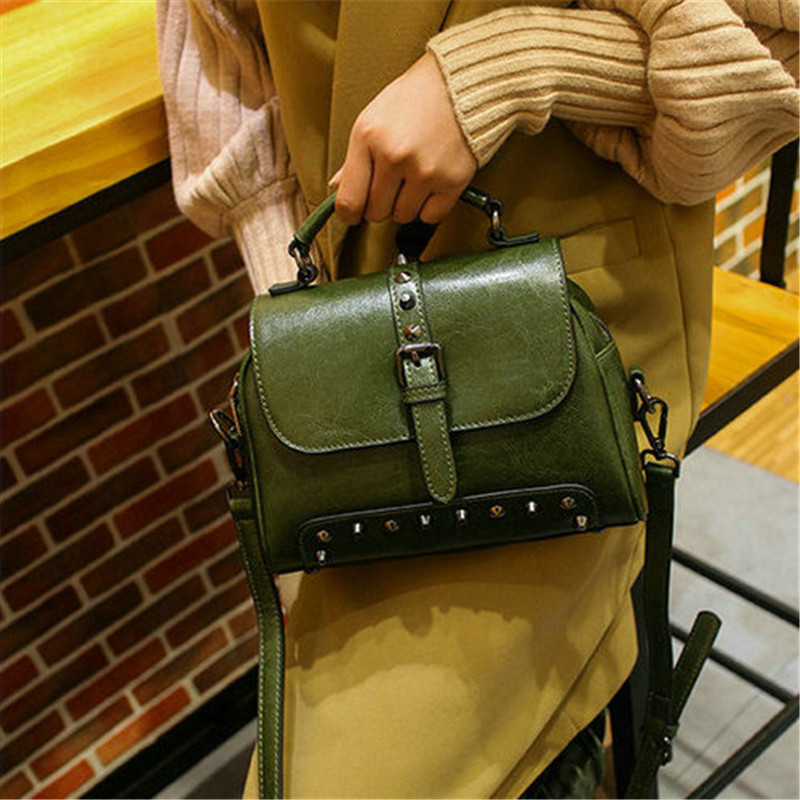 QIAOBAO Luxury Women Bags Designer Handbags High Quality Genuine Leather Bag Famous Brand Retro Shoulder Bag Rivet Sac a main