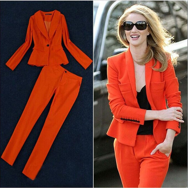 New Style Womens Designer 2 Piece Suits Orange Ladies Trouser Suit