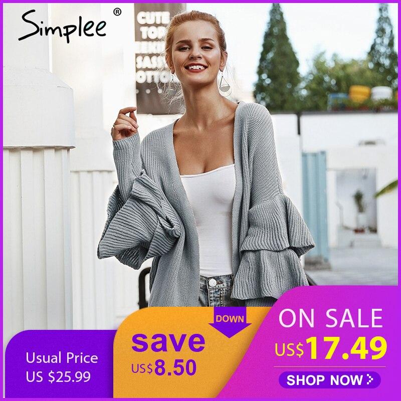 Simplee оборками хаки для женщин кардиган повседневное с длинным рукавом модные женские Свитер 2018 осень зима пикантные джемпер