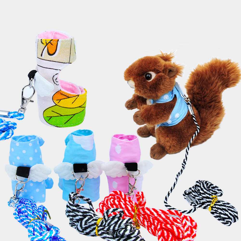 Small Pet Squirrel Vest Harnesses Cartoon Vest Clothes With Lead Leash For Ferret Chinchilla Squirrel Mouse Rat Animal Walking