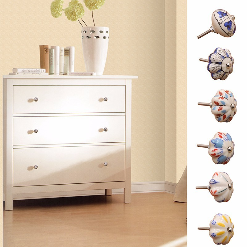 44mm Hand Painted Ceramic Handle Bedroom Cupboard Cabinet Knobs Door Drawer Furniture Box Handle Pulls Home Decoration 1 Piece
