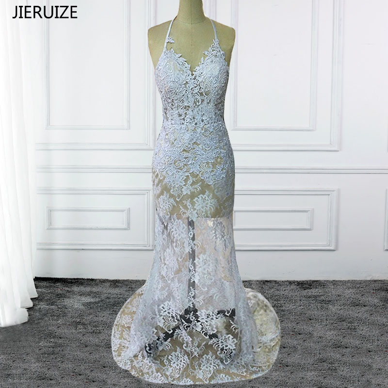 JIERUIZE Mermaid vintage in pizzo bianco Backless Summer Beach Abiti da sposa Open Back Abiti da sposa robe de marriage