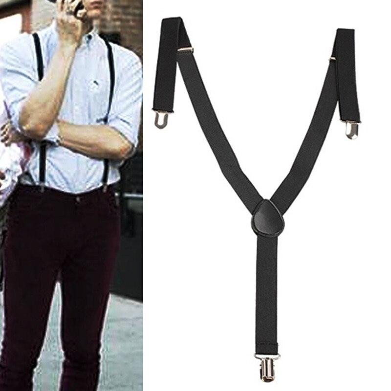 Adjustable Elastic Brace Suspender For Men Y Back Neon Clip-on No Slip Strap Clasp Clip Belt .70cm-100cm for Overall Adult VL
