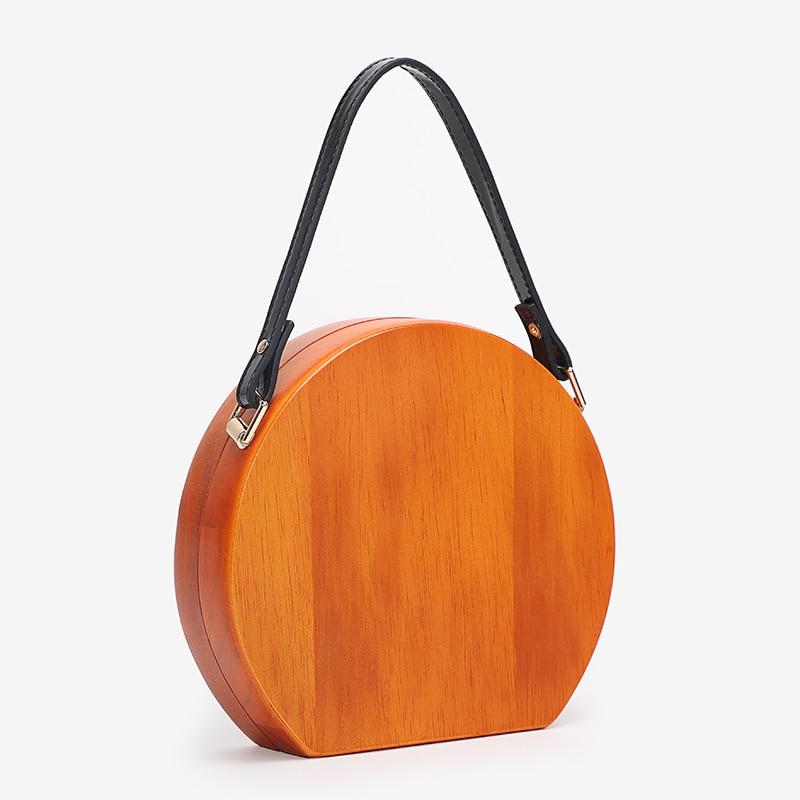 Деревянная круглая сумка, женские сумки на цепочке, сумки через плечо, женские вечерние сумки клатчи для вечеринок, дизайнерская сумка через плечо - 3