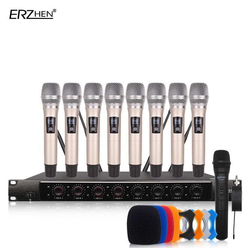 Kablosuz SystemX-8600 Profesyonel Mikrofon 8 Kanal VHF Profesyonel 8 El Mikrofonu Sahne Karaoke Kablosuz Mikrofon