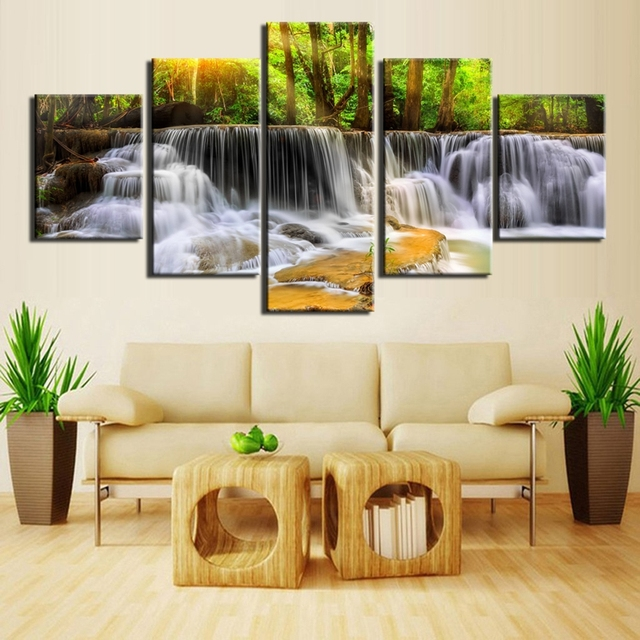Peaceful Waterfall Modern 5 Piece Canvas Art Nature Painting Wall ...
